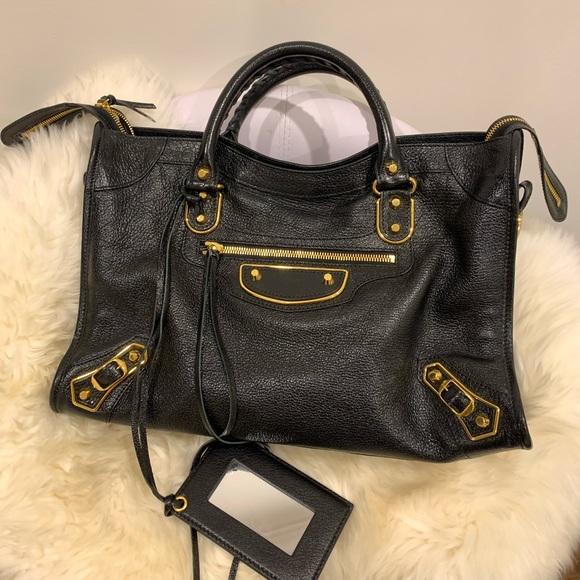 Balenciaga metallic edge classic city black gold